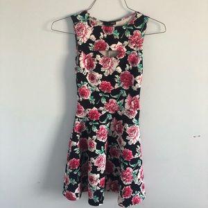 AQUA Watercolor Rose Floral Skater Mini Dress